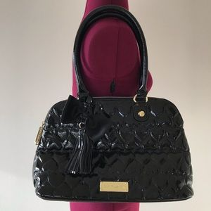 Betsey Johnson Black Heart Quilted Patent Bag